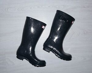 HUNTER Kids Rain Original Glitter Wellington Navy Boots Size EU34 US3 UK2