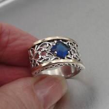 Hadar Designers 9Ct Oro Plata 925 Zafiro Azul Z Filigrana Anillo 6,7,8,9 .10 (S)