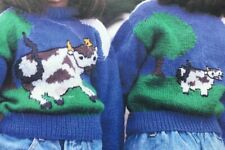 Knitting Pattern Cow Country Motif Children's Kids Chest 20 - 26in DK
