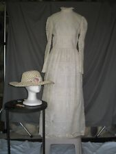 Victorian Dress Edwardian Womens Costume Civil War Style Ivory Gown with Hat