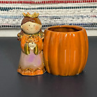 Yankee Candle Tea Light Holder Ceramic Pumpkin Princess Fall Autumn Halloween