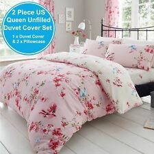 BIRDIE BLOSSOM PINK FLORAL UK KING / US QUEEN UNFILLED DUVET COVER & PILLOWCASE