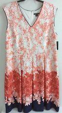 Covington Woman Sleeveless Dress Plus Sz 22W V Floral Coral Navy Blue NEW ($100)