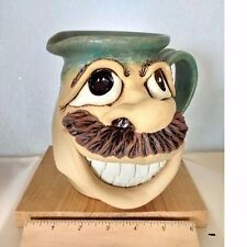Pitcher- Pottery With Happy Face-Handmade-One of kind-Signed-Numbered