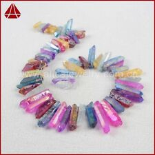 Similar 1 Strand Rainbow Cluster Druzy Quartz Crystal Point Loose Beads QG0905