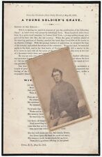 RARE - Civil War Mourning Death Soldier Poem Sheet & CDV Photo - Utica NY 1863