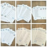 Personalised Baby Shower games pack of 4 or 6 games and answers  - sets of 16
