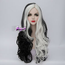 75cm Black Mixed White Long Curly Hair for Cruella Deville Anime Cosplay Wig