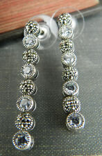 Judith Jack Sterling Silver Marcasite & CZ Round Tennis Dangle / Drop Earrings