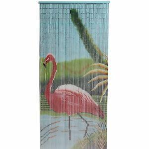 Bamboo Door Curtain Wall Art Reversible 90 x 200 cm Flamingo