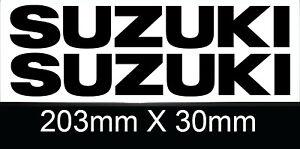 Suzuki tank sticker decal pair size 203mm x 30mm Black Motorbike Track Touring