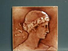 """1881 J. & J.G. Low Art Tile Company Antique glazed 6"""" Classical Facial Tile"""