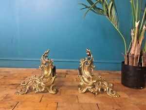 SUPERB ANTIQUE C1860 CHARLES CASIER FRENCH ROCOCO FIRESIDE FIRE DOGS ANDIRONS