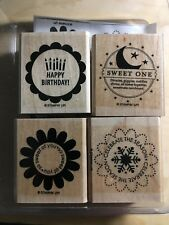 Stampin Up So Many Scallops Wood Unmounted Set Of 4 Rubber Stamps