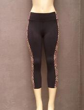 Betsey Johnson Black Pink Brown Amimal Print FloweDetail Yoga Pant Crops 6-8/ M.