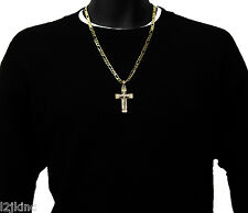 Cross Charm Gold Plated Piece Pendant Italian Figaro Chain Necklace Jewelry 0001