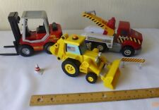 Construction Toys Mighty Wheels Fork Lift  Hard Hat Tow Truck Hasbro Skid Loader