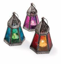 Fair Trade Moroccan Style Iron Emboss Glass Lantern Tea Light Holder Home Garden