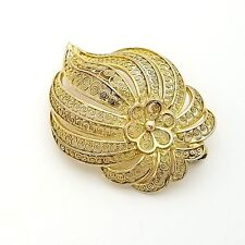 925 Sterling Silver Gold Plated 1.5' Inch Large Stencil Flower Leaf Pin Brooch