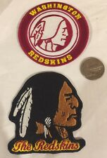"(2)-Washington Redskins vintage embroidered iron  on Patches 3x3"". Awesome!"
