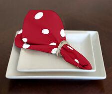 """Set of 4 Red & White Modern Polka Dot Lunch or Dinner Napkins 17"""" x 17"""""""