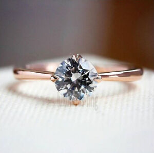 10K Solid Rose Gold 1.10 Ct Grey Round Cut Moissanite 4 Prong Engagement Ring 7
