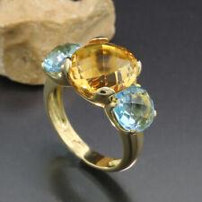 Anillo de Piedras Preciosas 1 Citrino 2 Topacio Azul 7,00 Quilates 750- Amarillo