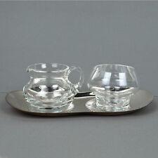 Vintage WMF leche azúcar bandeja set/midcentury/vidrio/versilbertes bandeja