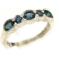 10ct White Gold Natural London Blue Topaz Womens Eternity Ring - Sizes J to Z