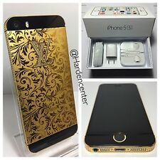 CUSTOM LV 24k GOLD Plated iPhone 5s - 32GB - (Unlocked) Engraved Tmobile Verizon