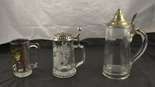 Lot of 3 Clear Glass 2 Pewter Lid Stein Mugs Sports Mardi Gras New Orleans T4O22