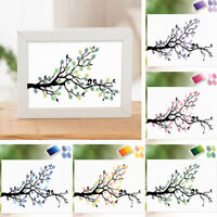 LD_ BIRDS TREE WEDDING GUEST BOOK FINGERPRINT CANVAS PAINTING HOME WALL DECOR