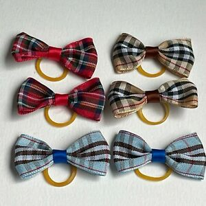 Dog Bows Bow Ties Puppy, Kitten, Tartan Cat Hair Grooming Red, Coffee, Blue