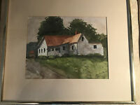 """Jan Hartman """"Farmhouse Scene"""" Watercolor Painting - Signed And Framed"""