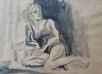 WOW! Signed Herbert Kosow - Woman - Pen & Ink Watercolor Art Freeport, New York