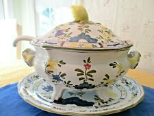 """New listing Cantagalli 4 Pc Hand Painted Soup Tureen """"Firenze"""" Italy - Lemon Finial Pristine"""