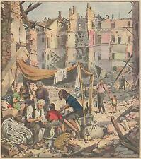 K0864 Bicacco tra le macerie delle zone devastate di Milano - Stampa antica