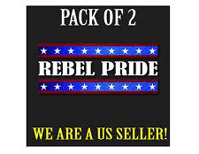 LOT OF 2 REBEL PRIDE Vinyl Decal Sticker Car Window Confederate Flag