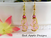 SEA GLASS Teardrop Pink Loop Swirl Gold Dangle Earrings USA HANDMADE