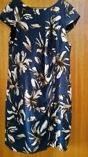 CAPTURE blue brown and cream patterned ruched lined dress
