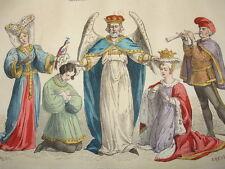 """COSTUME DE PARIS gravure coloriée """" un mariage au  XVe siècle"""