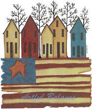 Ceramic Decals Patriotic Primitive Rustic Row Houses Flag