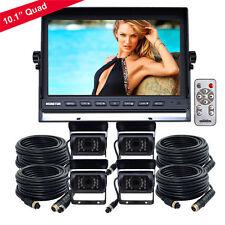 "10.1"" HD Quad Monitor 4 Video 4Pin + 4 Side CCD Reversing Camera 24V-12V 33Ft"