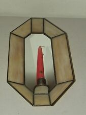 Vintage Victorian Style Candle Wall Sconce - Mirror Back with Slag Glass Frame