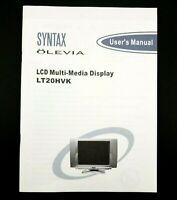 Syntax Olevia LCD Multi-Media Display LT20HVK User's Manual