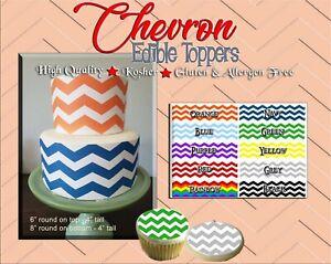 Chevron pattern Edible Cake Strips Sugar wrap toppers sheet cookies cupcakes