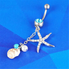 Starfish Conch Dangle Button Navel Ring Bar Barbell Charm Body Piercing Jewelry