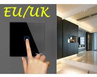 EU Standard Dimmer Touch Switch 1 Gang 1 Way Wall LED Light 220V Glass Panel GG