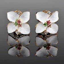 Betsey Johnson Gold Plated Whiite Crystal Flower Stud Earrings New