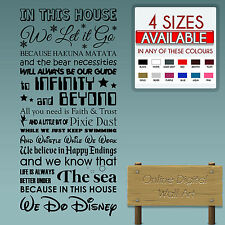 IN THIS HOUSE WE DO DISNEY NEW WALL STICKER  DISNEY QUOTES - CHILDREN'S TRANSFER